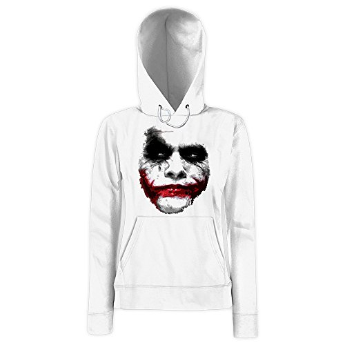 Joker Felpa Con Cappuccio   Donna   Shadow   Heath Ledger   Dark Night   Movie   Halloween, Farbe:Weiß (White F409);Taglia:Medium