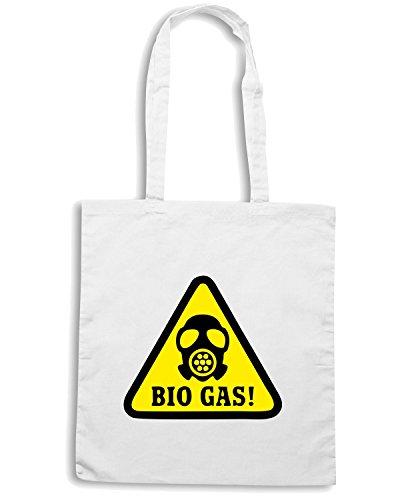 T-Shirtshock - Borsa Shopping TM0495 bio gas alert Bianco