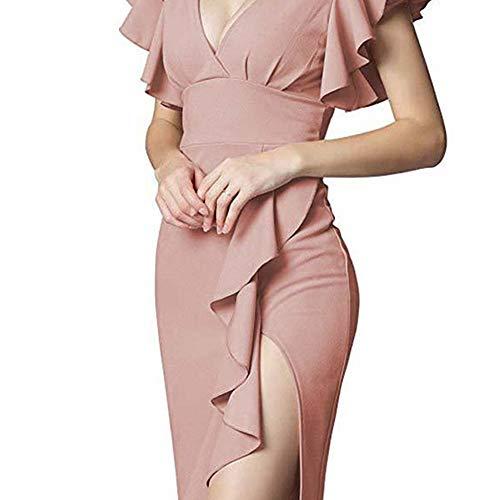 Ann Taylor Kleider (YuJian12 FeiXing158 Sommer Rüschen Ärmel Kleid mit Reißverschluss Frau Sexy V-Ausschnitt Midi Kleider Chic Arbeit Bleistift Kleider S 3XL)