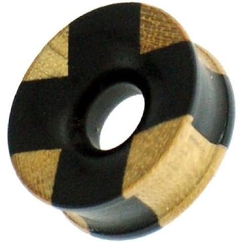 CHIC de Net madera Túnel negro marrón cruz de hierro madera de teca Madera Tallada a Mano Tribal Madera túnel Plug Talla:06 mm