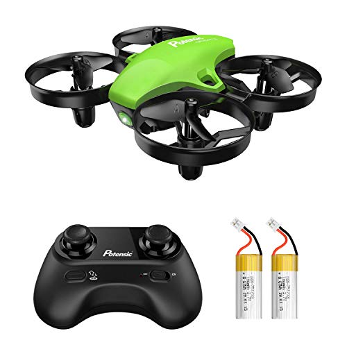 Aquí viene un mini dron Potensic A20 de control remoto súper lindo de 2.4G con 2 baterías adicionales, su tiempo de vuelo se prolonga hasta 12 minutos, un buen juguete para niños como regalo.      Todas las funciones están equipadas: despegue / ...