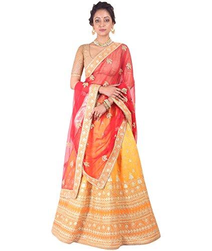 Indian Ethnicwear Bollywood Pakistani Wedding Orange A-Line Lehenga Semi-stitched-DIVISL017