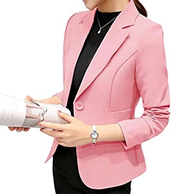 cfzsyyw Women Slim Fit Casual Work Office Blazers One Button Suit Jacket