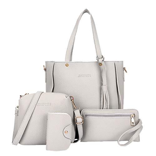 Wanfor 4pcs Frauen Single Umhängetasche Mutter Tasche Handtasche Mode Messenger Satchel Set (hellgrau)