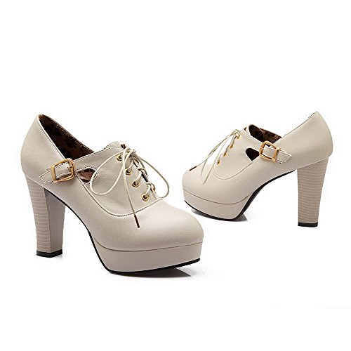 Dedo Puro Do Alto Creme Salto Pu Senhoras Pé Sapatos Voguezone009 Fivela Bombas Couro Redondo F6x10qw