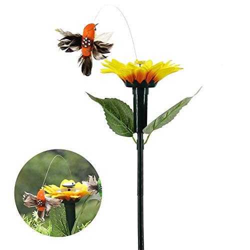 SUNERLORY Colibrí eléctrico, Colorida Herramienta de vibración de energía Solar Que agita, decoración de simulación de artesanía voladora de jardín...