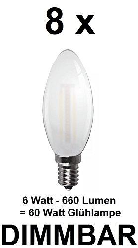 8 x dimmbare 6 Watt FADEN/FILAMENT LED Lampe, traditionelle Kerze in Milchglas Matt, Fassung E14, Retrofit, warmweiss 2700 Kelvin, 660 Lumen wie ca. 60 Watt Glühlampe, ideal für Kronleuchter -