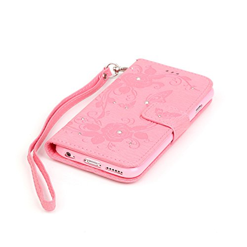 iPhone Case Cover Embossed Blumen Schmetterling Fall Deckung Resin Rhinestone Fall Wallet Stand Case mit Handschlaufe für iPhone 7 ( Color : Pink , Size : IPhone 7 ) Pink