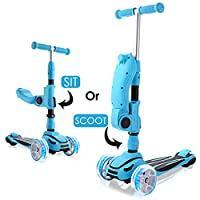 WeSkate 3 wheel Scooter with Folding/Removable Seat, 2-in-1 Adjustable Kids Scooters for Girls & Boys with 3 Extra-Wide Lighting Wheels,kick scooter for toddlers 2 years old and up