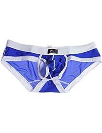 Demarkt Sexy Slip Hommes/ Pantalon Court/ Sous-vetement / en Voile/Respirant avec Striure Blanc/ Couleur Bleu Clair/ Taille-S/M/L