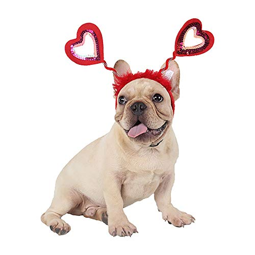 Zhyaj Katze Hunde Weihnachtenl Kostüm,Halloween Haustier Hund Kostüm Herzförmige Kopfbedeckung/Weihnachtenlkostüm für Hund Party Coslay (Herzförmiger Kostüm)