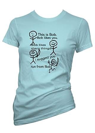 Ladies Funny tshirt This Is Bob Light Blue T shirt Size Small-36