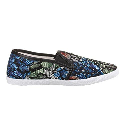 Damen Schuhe, BK9028-1, FREIZEITSCHUHE Schwarz Multi