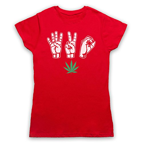 420 Cannabis Leaf Weed Pot Culture Fingers Damen T-Shirt Rot