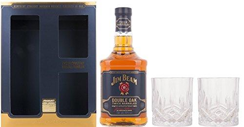 Jim Beam Double Oak Twice Barreled mit Geschenkverpackung mit 2 Kristalltumbler Whisky (1 x 0.7 l)