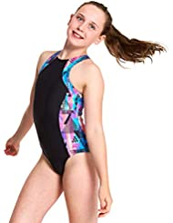 Zoggs Girls' Labrynth Retro Suit One Piece Swimsuit