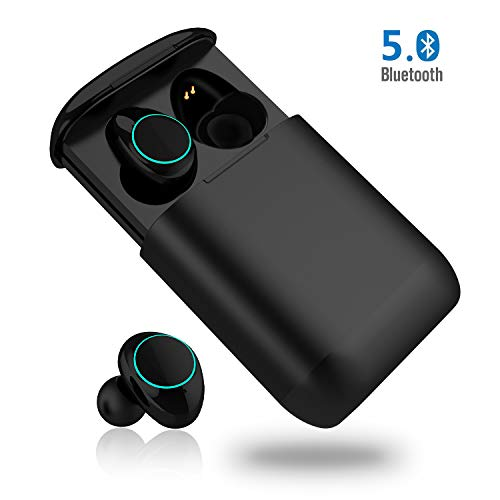 Bluetooth Kopfhörer, MONJA Bluetooth 5.0 Wireless Ohrhörer, Aktive Geräuschunterdrückung, IP7X wasserdichte Sport Headset Kabellos, Atmungslicht, 500mAh Ladebox (Schwarz)
