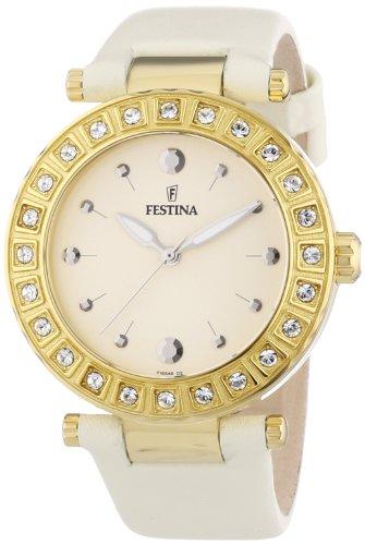 Festina-F16646/2 Women's Quartz Analogue Watch-Beige Leather Strap