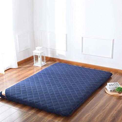 Verdicken sie Premium Schlafen Matratzenauflage Topper, Japaner Futon Matt mat Bett roll Gesteppter Angepasste matratze Für studentenwohnheim,Home-Blau 135x200cm(53x79inch) - Premium-futon-matratze