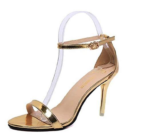 Lyx-123 scarpe - sandali da donna - colore oro - lucido - tacco a spillo - (taglia 37 eu = 37 del produttore)