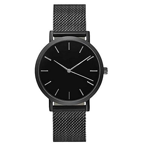 Ihee Bracelet Porter très Comfortableclassic pour femme pour homme montre bracelet en acier Sangle à quartz décontracté montres nouveaux Mode M noir