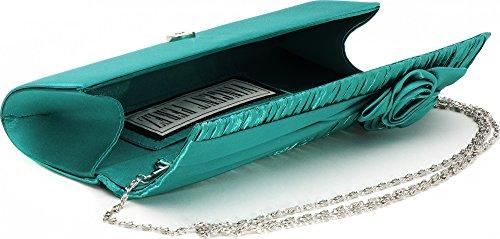 VINCENT PEREZ Borsetta, Borsa a tracolla, Pochette di raso increspato con fiori decorativi e tracolla rimovibile (120cm) smeraldo