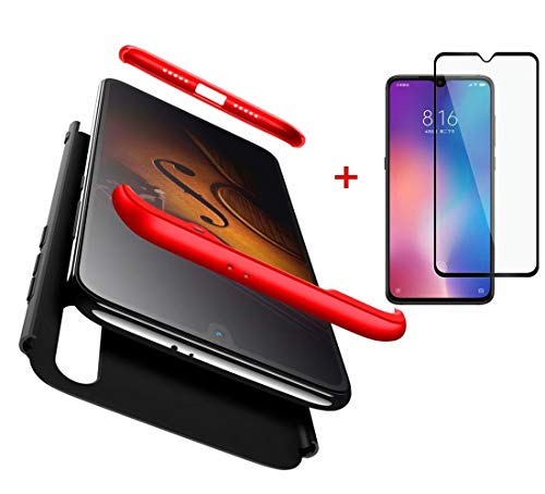 AILZH compatible for Xiaomi Mi 9 + Case [Tempered glass] Cover Full protection 360 degrees PC Hard shell Anti-shock shockproof case Bumper Matte bumper case (Red black)