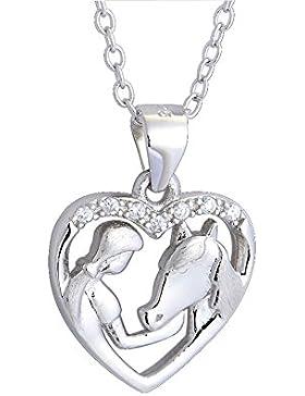 Sterling Silber Mädchen und Pferd Herz Anhänger Halskette Zirkonia Schmuck Damen Ketten Rolo Kette 18