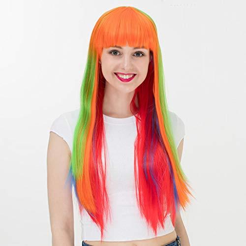 Farbe Perücke Damen Flasche Pony Lange Gerade Haar Europa und Amerika Halloween Party Bar Perücke Kopfbedeckung