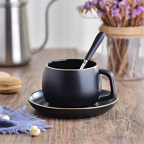 YINshop Tee/Kaffeetassen Untertassen-Sets, Porzellan Vintage Gold Trim Mit Löffel Für Home Office Teestube 2er Pack Black/A Bone China Gold Trim