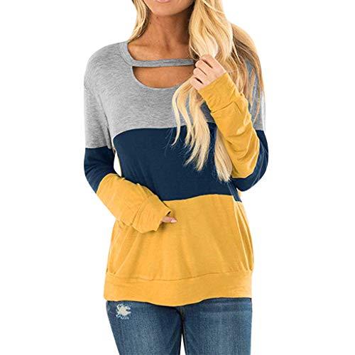 ReooLy Langarm-Farben-Block-Robe T Neck Neck Top Top Frauen(Gelb/Large)(Gelb/Large) -