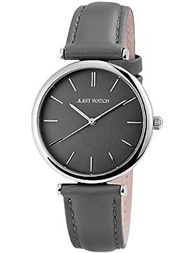 Just Watch Damen Armbanduhr JW14206 Lederarmband Analog Quarz Grau JW14206-DGR