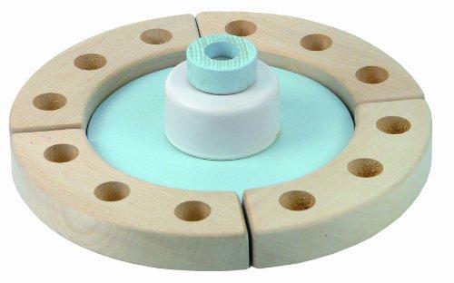 Niermann Standby 9020 - Happy-Spieluhr Mini mit Festring, D=19 cm, Happy Birthday Melodie, Spieluhr zum aufziehen, ohne Deko, kombinierbar mit allen Niermann Standby Ergänzungssets, hellblau