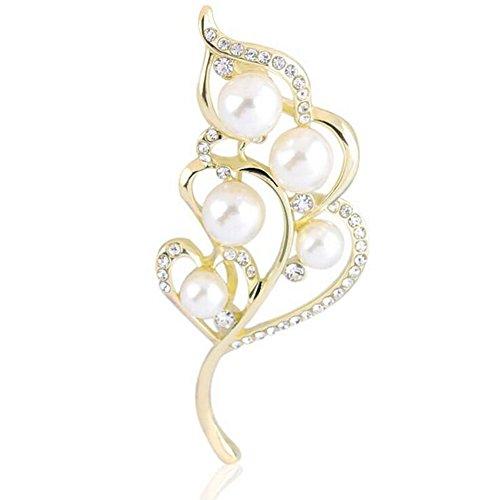 Hosaire 1x schöne Damenbrosche, Legierung und Strass, in Form eines Blatts, mit künstlichen Perlen (Kleine Charme-pins)