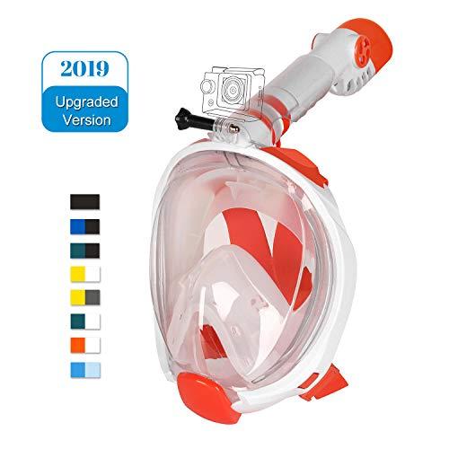 Unigear Masque de Plongée, Masque Snorkeling Plein Visage 180° Visible, Antibuée Anti-Fuite sous-Marine, 2019 Nouveau Version Snorkel Masque avec la Support pour Caméra de Sport (Blanc-Orange, S/M)