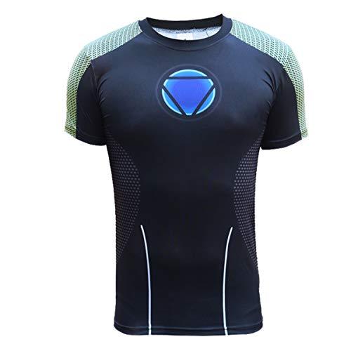 Iron Man Arc Reactor T-Shirt Rächer T-Shirt Kurzarm Herren 3D Gedruckt Schlank Kurzarm Comics Superheld T-Shirt Top Black-XL