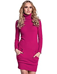 Donna Vestito maglia aderente con tasca frontale collo alto 178 8b802742cdf