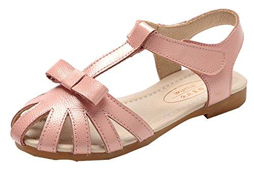 La Vogue Chaussure Princesse Fille Ballerine Sandale Nœud Papillon Cérémonie Mariage Simili Cuir Souple Rose