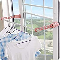 ASHOPPER VILLAGE Plastic Portable Indoor Balcony 5 Hole Clothes Hanging Drying Rack | Multifunctional Window Frame Hook…
