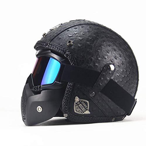 CARACHOME Helm Roller Mit Abnehmbarer Brillenmaske, Wind- Und Sanddichter Retro Helm, Motocross Helm Geeignet Für Bike Cruiser Scooter Touring Roller,Black,L -