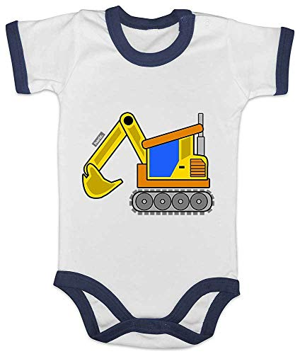 Stolz Ringer (HARIZ Baby Body Ringer Gelber Bagger Fahrzeuge Traktor Plus Geschenkkarten Weiß/Navy Blau 3-6 Monate)