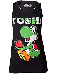 SUPER MARIO BROS - T-Shirt Super Mario : Yoshi Black Tank Top GIRLS (S)