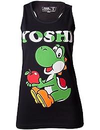 SUPER MARIO BROS - T-Shirt Super Mario : Yoshi Black Tank Top GIRLS (S)