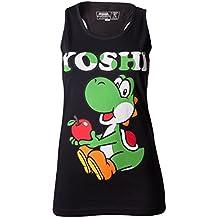 Super Mario Bros - T-Shirt Super Mario: Yoshi Black Tank Top Girls (S) [Importación Francesa]