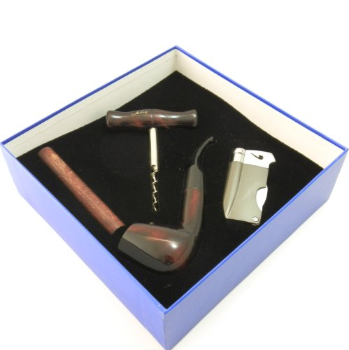 Tobacco Pipe Gift Set - Mr  Brog Silver Collection - Pipe, Stand, Tamper,  Lighter w Tool, Wine Opener - Hand Made by Mr  Brog