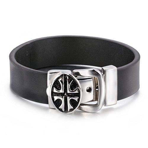 JOLIN Herren-Leder-Armband-Kreuz Breite Edelstahl-Schwarz