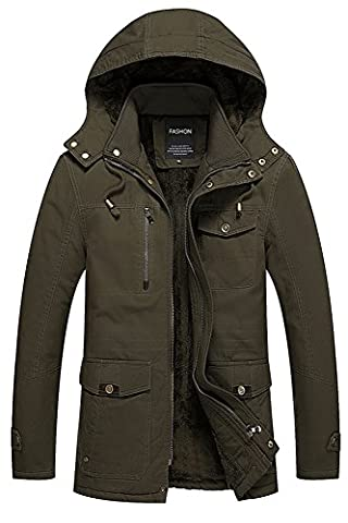 Menschwear Men's Down Coats Hooded Fleece Lined Winter Warm Outwear (L, Green)