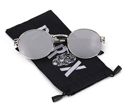 Ro Rox Herren Damen Retro Steampunk Runde Sonnenbrille - Spiegel - Silber