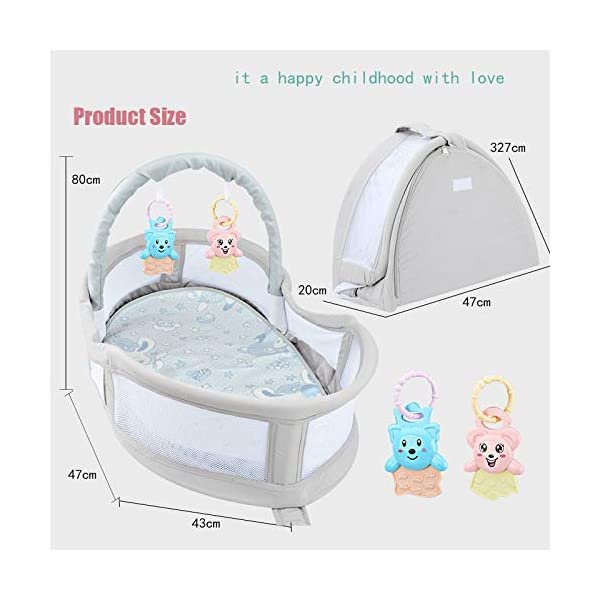 YANGGUANGBAOBEI Portable Baby Crib,Breathable And Hypoallergenic Toddler Newborn Co-Sleeping Lounger Bed, The All In One Baby Lounger YANGGUANGBAOBEI ✔ [BREATHABLE - WASHABLE]: Thousands of mesh holes and elastic layer maintain air circulation. The baby sleep pod can offer your baby good breathing environment when he sleeping.Even after repeated washing, its zipper will remain well. ✔ [ADJUSTABLE - FOLDING]: The slope of the head position of the baby bed can be adjusted from 5 to 30 degrees, it is not only suitable for sleeping, but also can be a baby bean bag. The folding design is easy to carry when you travel outside. ✔ [SOFT PAD - INSIDE DIMENSIONS]: This baby bed comes with an extra soft foldable cushion. You don't have to add anything extra to make your baby feel comfortable. The plastic frame is BMC material which is very light and firm. 6