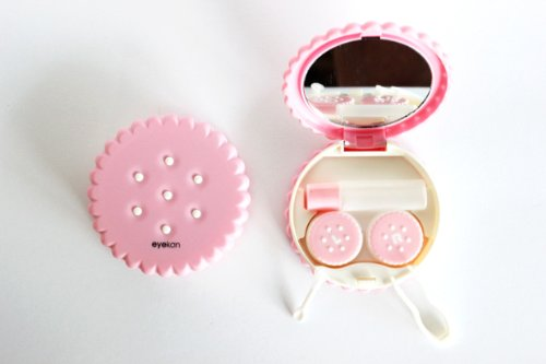 Kontaktlinsenbehälter Spiegel (Kontaktlinsenbehälter Aufbewahrungsbehälter Etui Set Spiegel Motiv Keks Pink NEU)